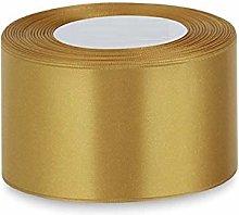 Gold Satin Ribbon - 50mm Wide - Full 25m Reel -