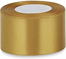 Gold Satin Ribbon Double Sided - 50mm Wide - Full