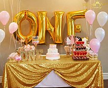Gold Sequin Tablecloth, 48x72in Gold Sequin