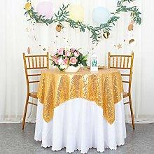 Gold Sequin Tablecloth Square 50x50-Inch Glitter