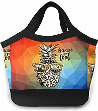 Gold Silver Cool Pineapple Women Portable Lunch