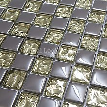 Gold & Silver Glass Mosaic Tiles Sheet for Walls
