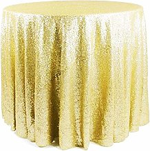 Gold Silver Rose Pink Sequin Tablecloth Round Hand