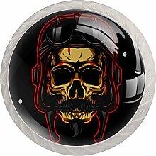 Gold Skull with Helmet 4PCS Drawer Knob Pull