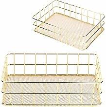 Gold Storage Basket Durable Metal Storage Basket