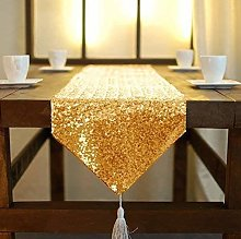 Gold Table Runner With Tassel 12x90-Inch Sequin