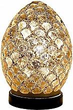 Gold Tile Mosaic Glass Vintage Egg Table Lamp 20cm