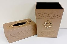 Gold Waste Paper Basket & Tissue Box Holder Set -