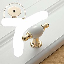 Gold White Creamic Cabinet Handles Knobs Drawer