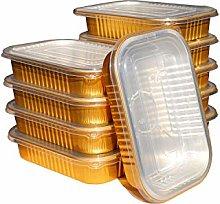 Golden Aluminum Foil Trays with Lids, Reinforced