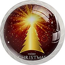 Golden Christmas Tree (4 Pack) Cabinet Knobs with