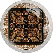 Golden Exotic Pattern 4pcs Glass Cupboard Wardrobe