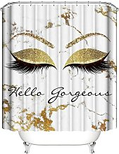 Golden Eyelashes Shower Curtain ,White and Gold