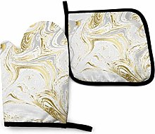 Golden Gray Marble Texture WaterStyle Oven Mitts