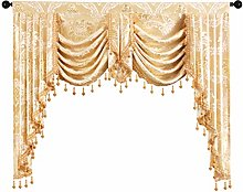 Golden Jacquard Swag Waterfall Valance Luxury