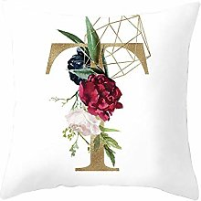 Golden Letter N-Z Cushion Cover Pillowcase Red