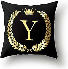 Golden Letters N-Z Cushion Cover Polyester