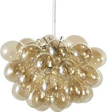 Golden Metal Pendant Light with Multiple Amber