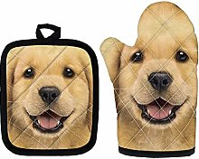 Golden Retriever Print Heat Resistant Oven Mitt