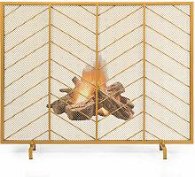 Golden Single Panel Fireplace Screen Decorative