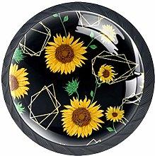 Golden Sunflowers Cabinet Door Knobs Handles Pulls