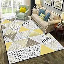 Golden triangle grid Fluffy Rug for the Bedroom,