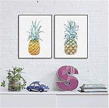 Golden Yellow Pineapple Canvas Art Print Poster