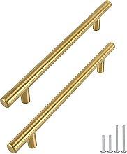 Goldenwarm 15pcs Brushed Brass Kitchen Cabinet