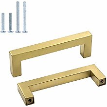 Goldenwarm Brass Cabinet Handles Square Drawer