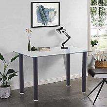 GOLDFAN Glass Computer Desk Table Modern Writing