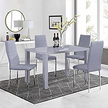 GOLDFAN High Gloss Dining Table and Chairs Set 4