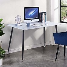 GOLDFAN Marble Glass Computer Desk Table on