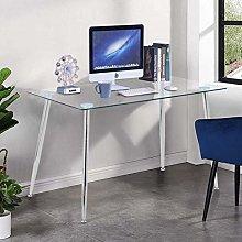 GOLDFAN Modern Glass Computer Desk Table on