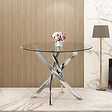 GOLDFAN Modern Round Dining Table Clear Glass