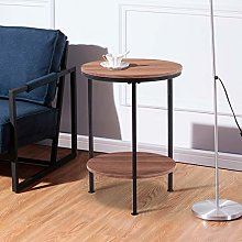 GOLDFAN Round Coffee Side Table Wooden Sofa End