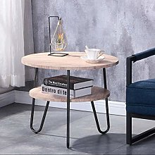 GOLDFAN Round Side Table Small Coffee Table with 2