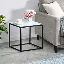GOLDFAN Small Coffee Table Marble Side End Table