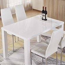 GOLDFAN White High Gloss Dining Table Modern