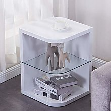 GOLDFAN Wood Side Table with Glass End Table Small