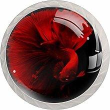 Goldfish Red White Drawer Handles Furniture Glass