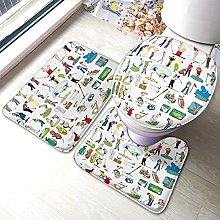 Golf Bathmat,Cartoon Golf Polyester 3 Piece