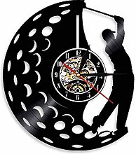 Golfer wall clock sports golf club vinyl record