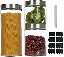GoMaihe Glass Jars Set of 3, Kitchen Food Storage