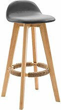 GONGFF Nordic Bar Stools Solid Wood Back Bar Stool