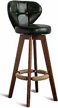 GONGFF Retro Bar Chair Rotating Solid Wood Home