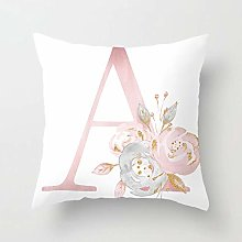 GONGGONG Pink White Letter A Cushion Cover English