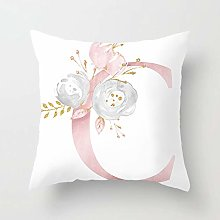 GONGGONG Pink White Letter C Cushion Cover English