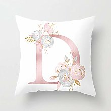 GONGGONG Pink White Letter D Cushion Cover English