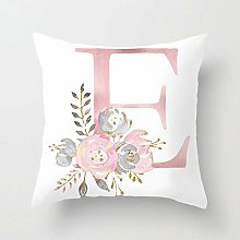 GONGGONG Pink White Letter E Cushion Cover English