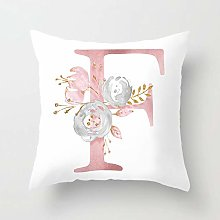 GONGGONG Pink White Letter F Cushion Cover English